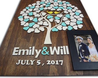 Memory of the newlyweds in the Tree of Love Wedding Guest Books Alternative wedding singing book 3d Customize your colors Wedding guestbooks