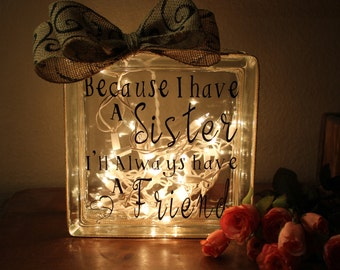 Sister gifts Sister Birthday gift for Sister Gift ideas Lighted Glass block Sister wedding gift Sister glass blocks with lights