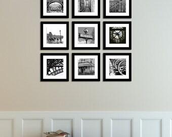 Paris Photography, Paris France in Black and White Print Set, Paris Decor, Black and White Photography, Gallery Paris Wall Art, Paris Print
