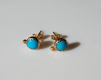 Unique 14k gold turquoise orbit earrings