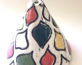 Ceramic bud vases multi color Ogee vase