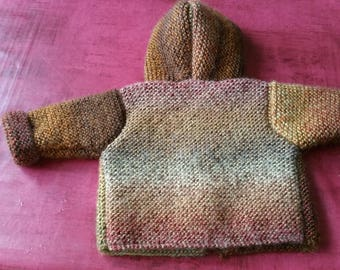 Garter hand knitted hooded coat