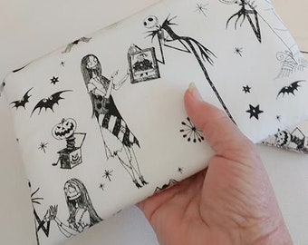 Large Sized Nightmare Before Christmas White and Black Zippered Wallet  Pouch Make Up Bag Pencil Case Anime Cosplay