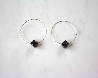 14k Gold fill hoop earrings with black marble bead