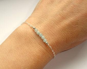 Sterling Silver aquamarine bracelet, Aquamarine bracelet, Gemstone bracelet, March birthstone bracelet, Blue stone bracelet