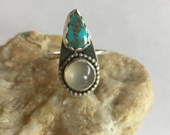 Turquoise and Moonstone ring, Statement Ring size 7.25, double stone ring, oxidized boho jewelry, american turquoise, southwestern jewelry