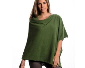 Fern Green Cashmere Poncho/Green Cashmere Poncho/Chartreuse Pure Cashmere Poncho
