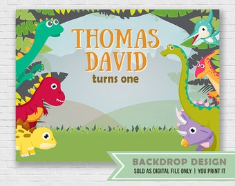 Dinosaur Birthday Party Backdrop // DIGITAL FILE ONLY // Dinosaur Party Banner Backdrop
