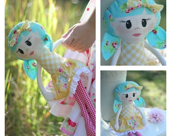 Scrappy Little Miss - fabric doll pattern - softie doll PDF pattern