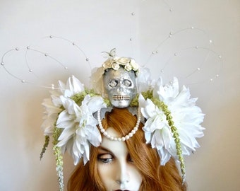 Crowning Glory: Day of the Dead Headpiece SKULL Bride Headband Halloween White Wedding Flowers Pearls Rhinestones Original by Morticia Snow