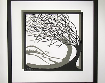 TREES Of LIFE Wall Art Home Décor Silhouette Paper Cutouts w/2 Layers of Black and Gray Original Handmade Design Framed Signed SOLD 2 A
