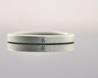 Tiny Diamond Ring -  Sterling Silver - 2 mm - Simple - Matte Finish - Minimalist