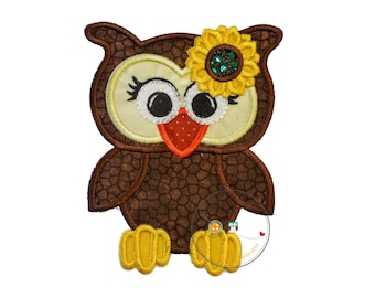 Fall girl owl - iron on embroidered fabric applique patch