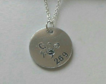 Vegan 269 Cow Calf hand stamped necklace - exclusive design