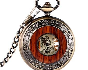 Pocket Watch Bronze or silver up mechanical watch