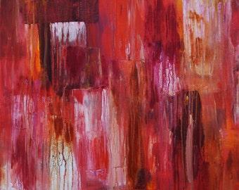 Red Door, Abstract Art, Original Acrylic Painting, Abstract Painting, Red, Dripping Paint, Aged, Distressed