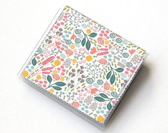 Vinyl Moo Square Card Holder - Flora Fields / case, vinyl, snap, wallet, mini card case, moo case, square, floral, flowers, small, vegan