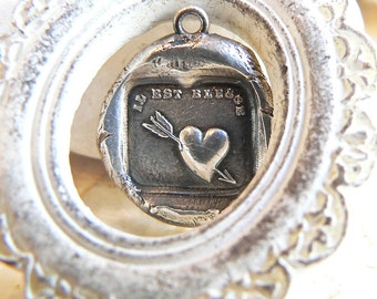 """WOUNDED Heart, """"It is Hurt""""  Wax Seal Necklace Heart ARROW,  FRENCH + English Versions Available) Antique Jewellery ~ YourDailyJewels"""