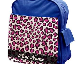 Personalised Pink Leopard Pattern Rucksack Backpack 101 - back to school - school - gym bag - pink - blue -