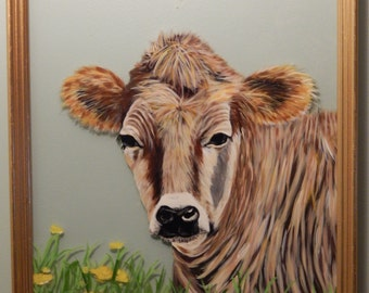 Hand Painted Cow in Flowers