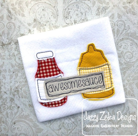 wesomesauce shabby chic applique embroidery design - awesomesauce appliqué design - shabby chic appliqué design - catsup appliqué design