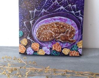 Fawn deer art, purple floral spring time, nursery shower gift, Spring Awakening, Original Fabric on Wood panel