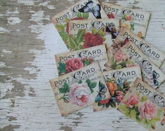 Small notecards - mini notecards - shabby cottage chic - butterflies - embellishments