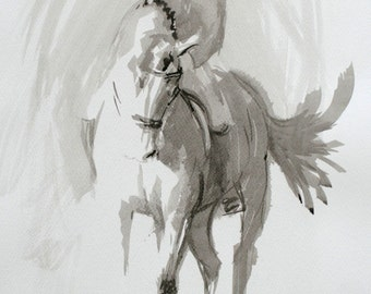 Beautiful Equine horse art LE horse print horse gift horse lover gift 'Ink study III' from an original ink wall art home decor