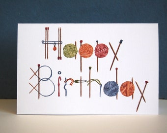 Knitting Happy Birthday Greeting Card. White linen card stock. 5 X 7 with white envelope. Gift for knitters