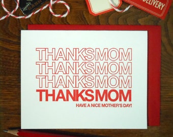 letterpress thanks mom bag greeting card have a nice mother's day shopping bag