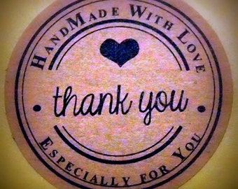 "Vintage ""Handmade with Love ~ Especially for you ~ Thank You"" Kraft Stickers, Labels, Envelope Seals"