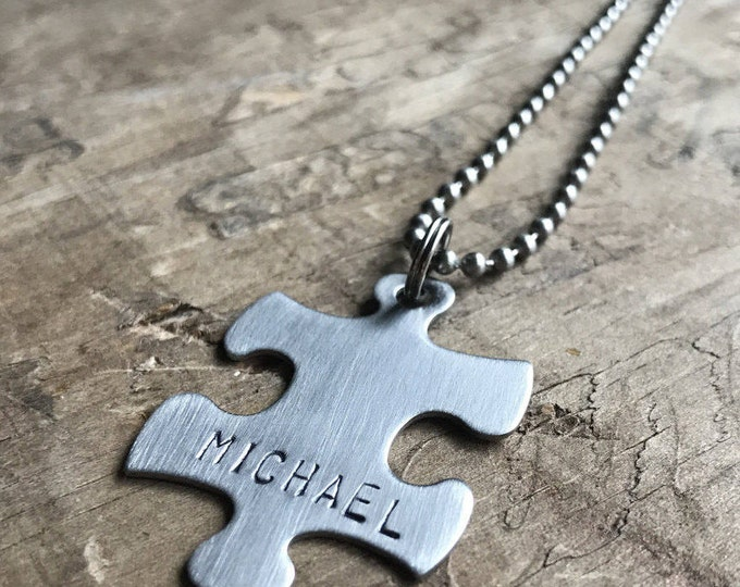 Personalized Puzzle Necklace Stainless Steel Keychain Necklace Custom Autism puzzle Piece Personalized Stainless Steel