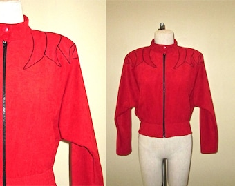 Vintage 90's hipster jacket RED HOT shoulder applique batwing zip-up - M/L