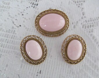 Pink Oval Cabochon Brooch Earrings Set Demi Parure Vintage Jewelry Set