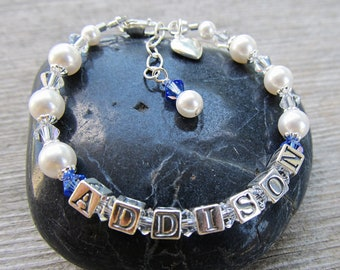 Baby Name Bracelet Swarovski Pearl Crystal Sterling Silver Letters Baptism Christening or Birth