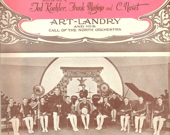 1922 Dreamy Melody Music Sheet Antique Roaring Twenties Orchestra Song Ornate Coral Pink, Gray & White Photography Typography Wall Art Print