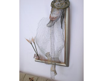 Klezmer - Wire metal mesh framed sculpture. OOAK. Wall home and office decor bronze silver green black gold colors.
