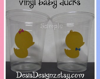 24 Gender reveal Baby duck vinyl decals 12 oz. 16 oz or 20 oz. clear party cups Baby shower decorations girl boy sprinkle party