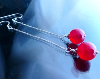 3 inches Long Chain n Strawberry Quartz in sterling silver shoulder duster earrings fuchsia pink orbs OOAK jewelry