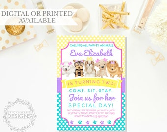 Puppy Dog Birthday Invitation| Puppy Birthday Invitation | Dog Birthday Invitation | Dog Invitation | Puppy Invitation Girl