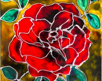 """Painting on glass """"Garden rose"""" 8""""x6"""""""