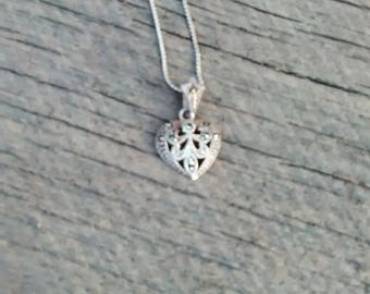 Sterling Silver Filigree Marcacite Heart Shaped Pendant Necklace, Inv.# 106
