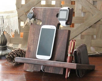 Fathers Day Gift for Husband Gift for Boyfriend Gift for Men Gift for Him SOLID WALNUT Docking Station iPhone Holder iPad iWatch Charger