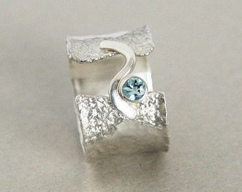 Wide Band Hammered and Textured Sterling Silver Ring Ruins Look with Faceted Blue Topaz