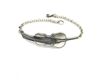 Cello Bracelet, Cello Anklet, Sterling Silver of Antiqued Brass Finish