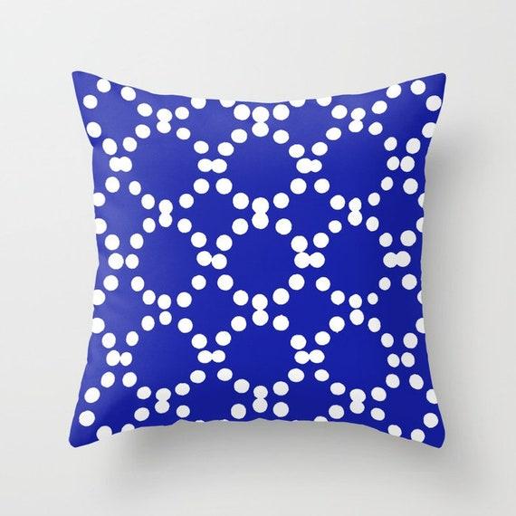 OUTDOOR Throw Pillow . Azure Blue Outdoor Pillow . Blue patio cushion . Modern Geometric Pillow Ring Dot . 16 18 20 inch . Lumbar Pillow