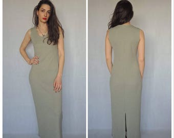 90s Vintage Sleeveless Ribbed Maxi Dress