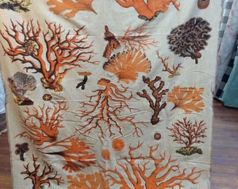 """LAST PIECE 65""""inches  """"orange coral"""" by Design Legacy print fabric"""
