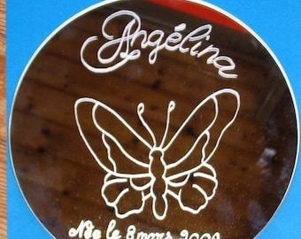 1 round mirror engraved and personalized