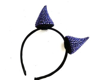 Devil Horns, Halloween Costume Accessory, Violet Purple Swarovski Crystal Horns, Solid Color, Any Color You Choose, Batcakes Couture